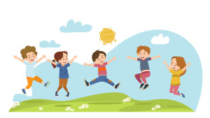 Happy children jumping on summer meadow